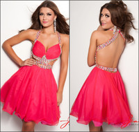 Wholesale Sexy Jasz Dresses - 2014 New Fashion Sexy Cutout Backless Homecoming Dress Halter Short Organza Prom Dresses Crystal Beads Cheap Formal Party Gowns Jasz Couture