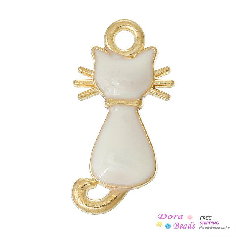 "Charm Pendants Lovely Cat Gold Plated Enamel 6 colors 23mm x 12mm( 7/8"" x 4/8""),10PCs (B37235)"