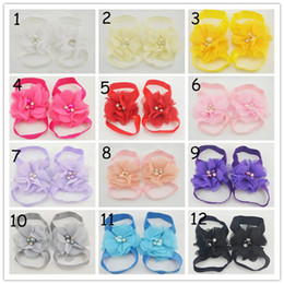 Wholesale Wholesale Crystal Baby Shoes - Baby Footwear Barefoot sandals Chiffon Pearl crystal Flower shoes 14Color Stock baby kids shoes 100pcs=50pair