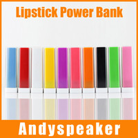 Wholesale Lipstick Portable Chargers - Power Charger 2600mAh For iPhone6s For Galaxy S6 edge For Cellphones Portable Lipstick Style 20pcs up
