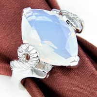 Wholesale Big Purchase - Easter BIG PURCHASE Popular Style Moonstone 925 sterling Silver Plated Gemstone Austrian Crystal Wedding Rings for lovers four options