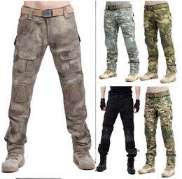 Wholesale Black Tactical Mens Trousers - Tactical Mens BDU Rapid Hunting Assault Combat Airsoft Pants With Knee Pads War game Trousers