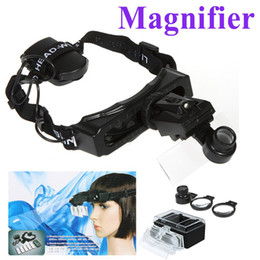 Wholesale Head Magnifier Led - 8 Lens Headband Head Strap Magnifier Watch Repair Magnifying Glass Jeweler Loupe with LED Light , Freeshipping Dropshipping H9093