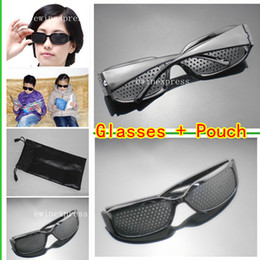 Wholesale 10pcs Pinhole Glasses + 10pcs Black Sunglasses Pouch Bags Eyesight Improvement Vision Care Exercise Eyewear Training Set Free Shipping