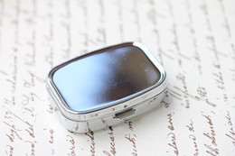 Wholesale choice metals - Hot! Pill box Metal Blank Rectangle Pill Case Container Silver Color DIY Choice -Free Shipping