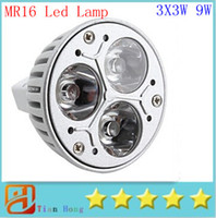 Wholesale Dc Saving Lamp - MR16 3X3W 9W Dimmable Spotlight Led Lamp AC DC 12V Energy Saving Lighting Downlight free shipping