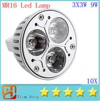 Wholesale Dc Saving Lamp - 10pcs lot MR16 3X3W 9W Dimmable Spotlight Led Lamp AC DC 12V Energy Saving Lighting Downlight free shipping