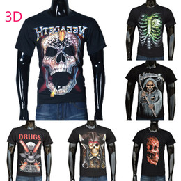 Wholesale New Shirts Patterns For Men - 2015 New Men's T-Shirts 100%Cotton Men's 3D Skull Pattern Short Sleeve Tops Size:S-XXL For Choose