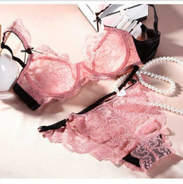 Wholesale White Cup Hooks - free shipping size 32B-36BC 6 colors sexy vs women's lace thin cup bra brand ladies' lingerie set