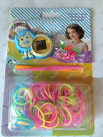Wholesale wholesale rainbow loom kits online - New Arrival DIY Knitting Braided Cartoon Digital Loom Watch Rainbow Kit Rubber Loom Bands Self made Silicone Bracelet