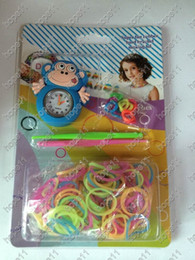 Wholesale Rainbow Rubber Bracelets - New Arrival DIY Knitting Braided Cartoon Round Dial Loom Watch Rainbow Kit Rubber Loom Bands Self-made Silicone Bracelet 20pcs