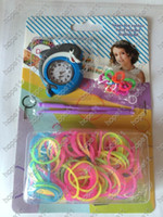 Wholesale wholesale rainbow loom kits - New Arrival DIY Knitting Braided Cartoon Round Dial Loom Watch Rainbow Kit Rubber Loom Bands Self made Silicone Bracelet