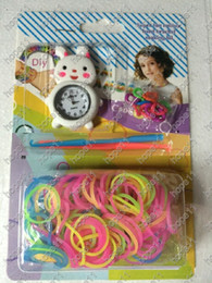 Wholesale Loom Toys - Toy&Gift New Arrival DIY Knitting Braided Cartoon Round Dial Loom Watch Rainbow Kit Rubber Loom Bands Self-made Silicone Bracelet 50pcs