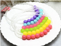 Wholesale Baby Beads Bracelet - Posh Candy beads children's baby girl crystal jelly bead necklace bracelet jewelry set Free Shipping 5pcs lot