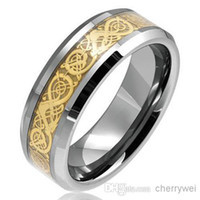 Commercio all'ingrosso - Gioielli Gold Dragon Tunsten anello del carburo di Mens Comfort Fit Wedding Band Dimensioni 7/8/9/10/11/12/13 spedizione gratuita