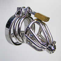 Wholesale Cock Sounding Urethra - Small Male Chastity Device Chastity Belt Short Cock Cage Stainless Steel Urethra Sounds BDSM Penis Plugs Male Chastity Spikes Urethral Tube