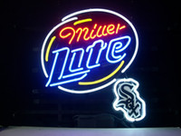 "Wholesale White Lager - New CHICAGO WHITE SOX MILLER LITE handicrafted real glass tube Neon Light Beer Lager Bar Pub Sign 24""*20"""