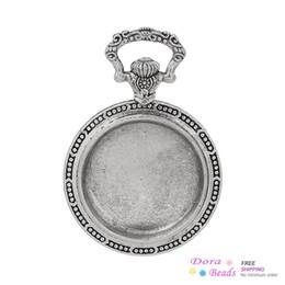 Wholesale Antique Pocket Watch Set - Charm Pendants Round Pocket Watch Antique Silver Cabochon Setting(Fits 3.3cm Dia) Rabbit Carved 6.3cm x 4.3cm,5PCs (B36043)
