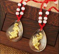 Wholesale Tourism Souvenirs - Crystal 24K gold inside pendant charms Dragon Phoenix fashion express love Business gifts, festival gift, staff welfare, tourism souvenir