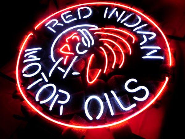 OLIO MOTORE ROSSO INDIANA Insegna al neon Tubo reale in vetro Bar Negozio Pubblicità aziendale Decorazione domestica Espositore regalo in metallo Dimensioni cornice 18''X18 ''