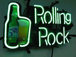 Enseignes au néon de rock roulant en Ligne-ROLLING ROCK Enseigne Au Néon En Verre Véritable Tube Bar Club Affaires Publicité Décoration de La Maison Art Cadeau Affichage En Métal Cadre Taille 20''X15 ''