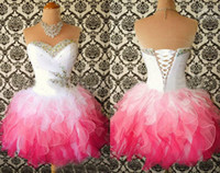 Discount multi color sweetheart prom dress - Homecoming Dresses 2017 Multi Color White and hot Pink Sweetheart Ball Gown Short Corset Party Dress Beads Crystal Ruffle Cheap Prom gown