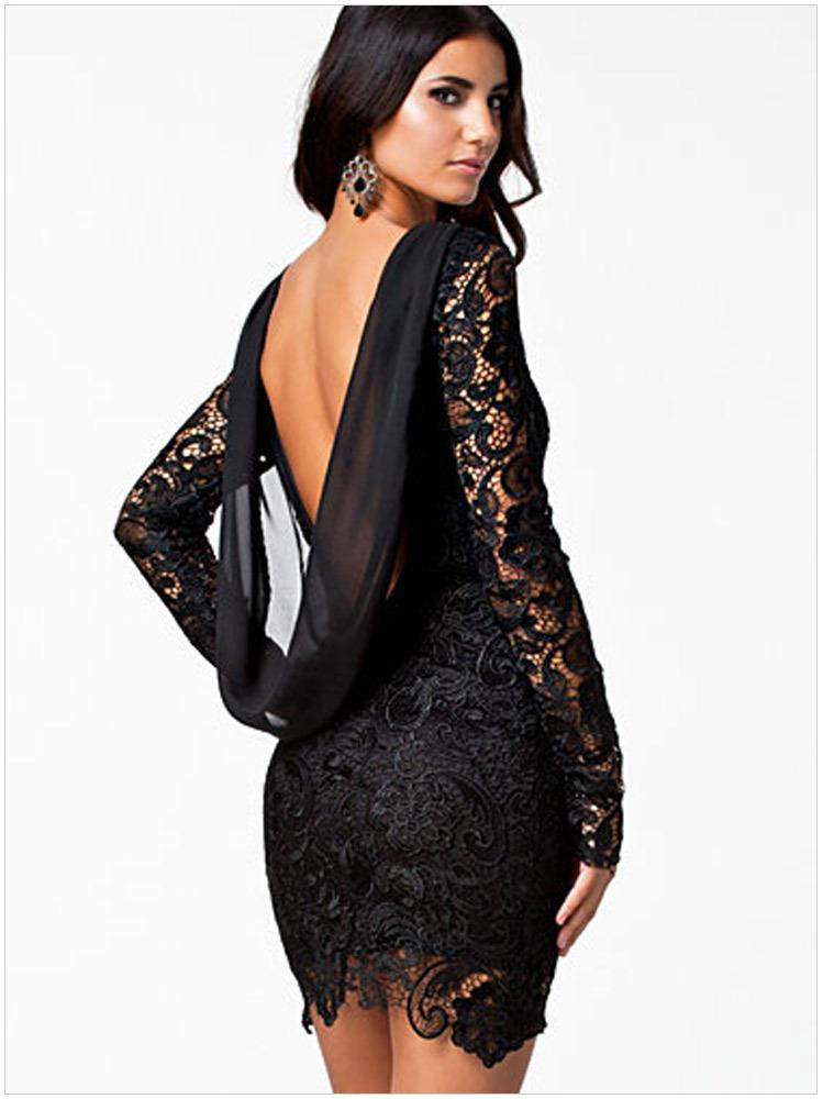 2017 Sexy Back Low Cut Draped Lace Party Dress Chiffon Patchwork ...