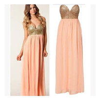 Wholesale Long Sexy Pink Tube Top - Sexy paillette patchwork chiffon full dresses peach pink tube top strapless bling long dress PLEATED MAXI SEQUIN BUSTIER DRESS