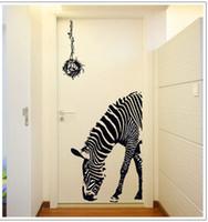 kaliteli duvar kağıdı toptan satış-Yeni sıcak !! Büyük Zebra Duvar Sticker 90 * 60 cm Yüksek Kalite Şeffaf PVC Malzeme Çıkartması Su Geçirmez, çıkarılabilir Duvar Kağıdı DIY Eğlenceli Duvar Posteri