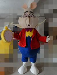 Wholesale Alice Costume Xl - with one mini fan inside the head WR210 alice in wonderland costume adult white rabbit mascot costume