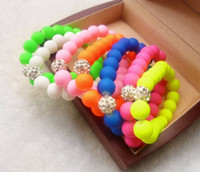 Wholesale Disco Ball Resin - Wholesale - Hot Neon Bracelet fluorescence Color Beads Disco Shamballa Ball stand stretch bracelets handcraft jewelry