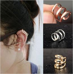 Wholesale Cuff Studs - Bulk Punk Rock Fashion 3Rows Ear Clip No Ear Hole Ear Cuff Ear Stud Unisex Earrings Jewelry Cheap[JE05030*12]