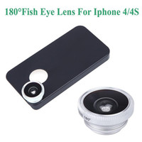 Wholesale Detachable Wide Angle Lens - Detachable HD 180 Degrees Wide Angle Fish Eye Lens Fisheye Phone Telephoto Camera Lens with Back Cover Case for iPhone 4 4S PA1584