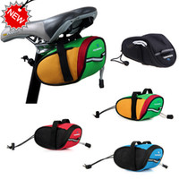 Wholesale Red Cycling Saddle - Roswheel Outdoor Cycling Mountain Bike Bicycle Saddle Bags Back Seat Tail Pouch Package Quick Release Black Green Blue Red H8610