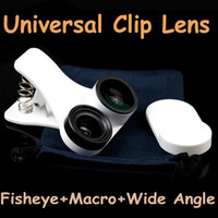 Wholesale Detachable Clip Fish Eye Lens - Detachable Clip Universal 3 in 1 Fisheye + 10X Macro + Wide Angle Fish Eye Photo Camera Lens for iPhone Samsung HTC Tablets etc PA1579