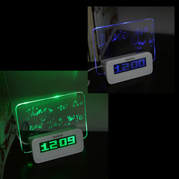 Wholesale Table Clock Calendar Light - Fluorescent Message Board Clock Alarm Temperature Calendar Timer USB Hub Green Light LED Digital Desktop Director Table Clocks H10374