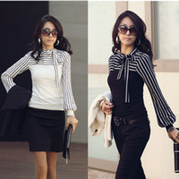 Wholesale Bow Shirt Womens - 2016 New Fashion Hot Sale OL Womens Ladies Stripe Long Sleeve Turtleneck Shirts Black White Size S-XXL G0472