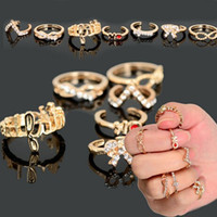Wholesale Nails Rhinestone Bows - 8pcs (1set) Punk Gold Plated Fashion Thin Band Ring Knuckle Rings Set Cut Lovely Bow Nail Ring Jewelry [JR15076*1]