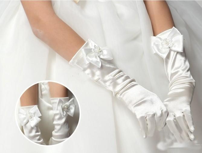 Girl Wedding Dress Finger Gloves Child Bowknot Flower Gown Ball ...
