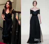 Wholesale Prom Dresses Kate Middleton - Kate Middleton in jenny packham prom gown off the shoulder pleat bodice mother of the bride dresses navy blue Tulle evening dresses WL125