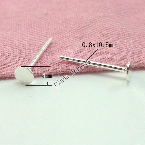 925 Sterling Silver Earring Nail Findings For DIY Craft Jewelry 4mm W295*