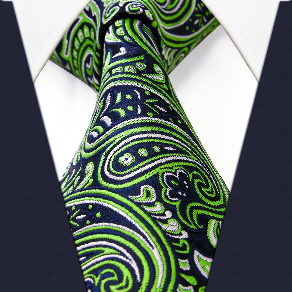 New Classic Floral Black Green Purple Blue JACQUARD WOVEN Silk Men/'s Tie Necktie