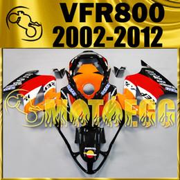 Wholesale Vfr Interceptor - Motoegg ABS Motorcycle Fairing For Honda VFR800 Interceptor VFR 800 2002-2012 02-12 Bodywork Repsol Orange Red H82M11+5 Free Gifts