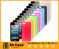 Wholesale Clear Iphone 4s Cases Cheap - Wholesale Cheap Ultra Thin 0.2mm Frosted Clear Logo Candy Color Case Matte Case for iphone 4s 5s, post free shipping