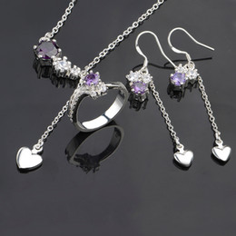 Wholesale Moonstone Amethyst Ring - Necklace Earing Ring Set Purple Crystal Charms 925 sterling silver Womens New Jewelry s676