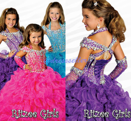 Wholesale Pageant Gloves - 2015 Exclusive Halter Corset Keyhole Back Ball Gown Floor-length Layers Organza Crystals Beaded With Gloves Ritzee Girl's Pageant Dresses