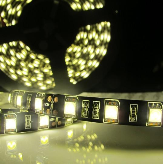 100M 방수 5m 검정 PCB 60led / m 5050 SMD 300 LED 유연한 스트립 빛 Led 램프 멋진 화이트 / 따뜻한 화이트 DC12V