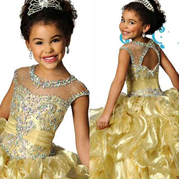 top popular Famous Sheer Crew Neckline Organza Beaded Crystal Backless Ruched Girls Pageant Dresses Formal Kids Wear 2020