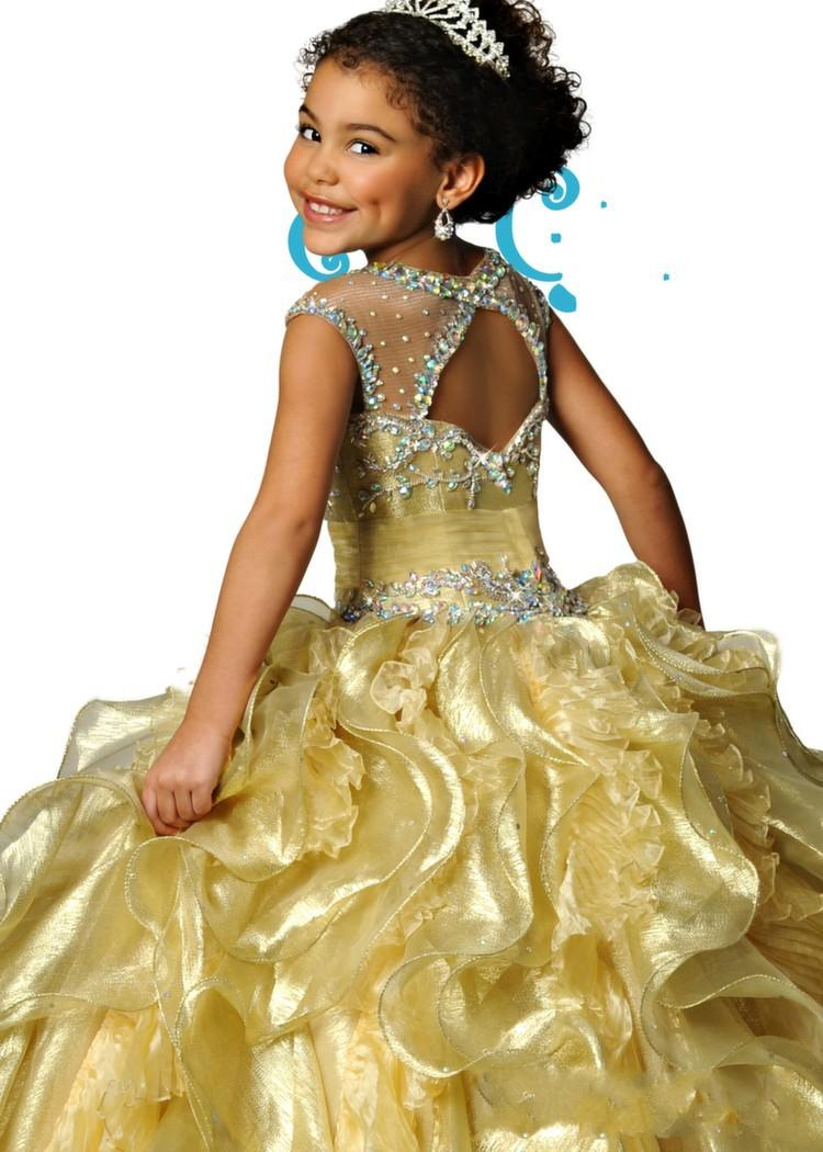 Berühmter Sheer Crewausschnitt Organza Perlen Kristall Backless Ruhnierte Mädchen Pageant Kleider Formale Kinder tragen