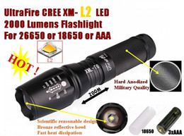 China USA EU Hot Sel E26 Hard anodized Zoomable CREE XM-L2 2000Lumens 5-Mode CREE LED Flashlight Torch light For 26650 or 18650 or 3 x AAA Batter supplier hard drive 3.5 suppliers